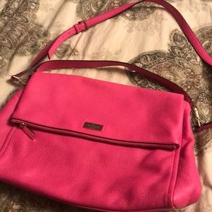 Bright pink Kate Spade closed tote